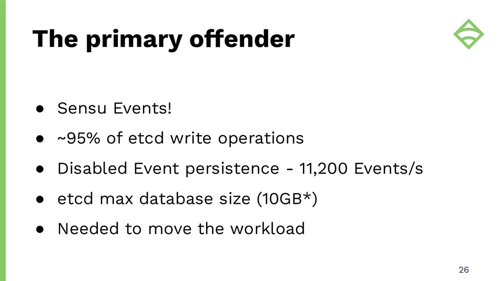 ● Sensu Events! ● ~95% of etcd write operations...