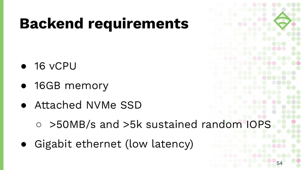 Backend requirements ● 16 vCPU ● 16GB memory ● ...
