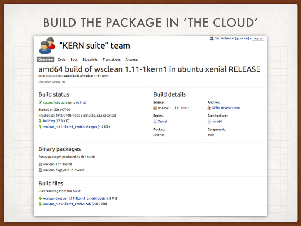 BUILD THE PACKAGE IN 'THE CLOUD'