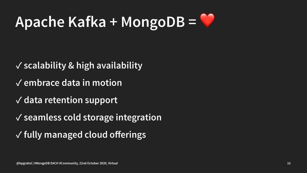 Apache Kafka + MongoDB = ✓ scalability & high a...