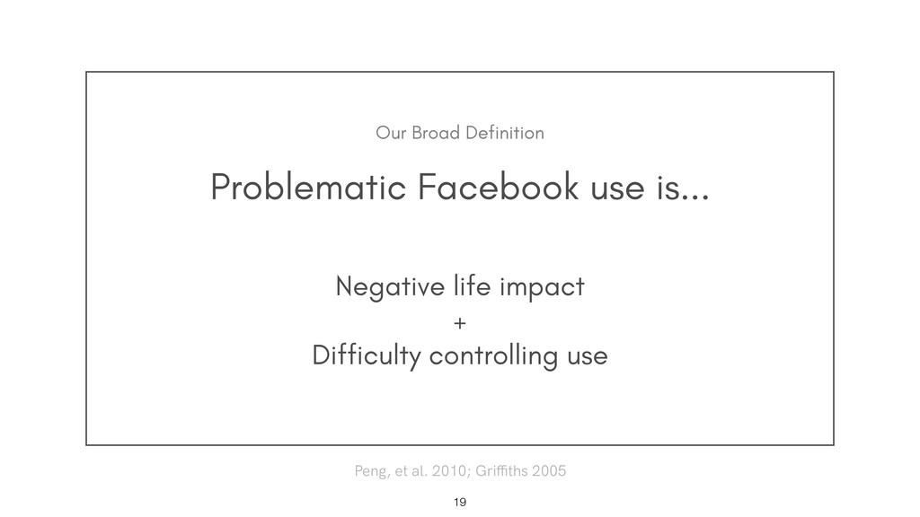 Problematic Facebook use is... !19 Negative lif...