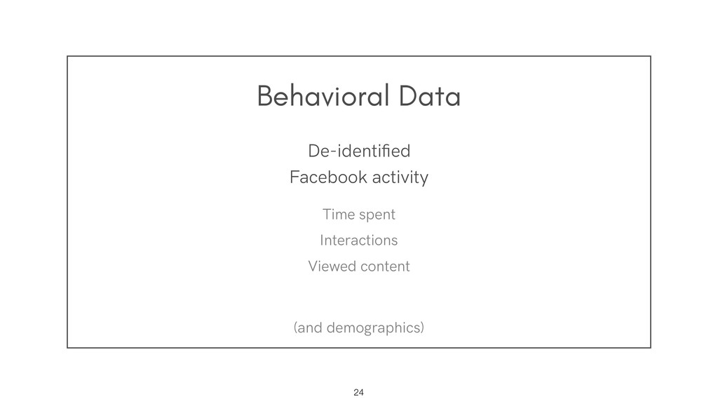Behavioral Data !24 De-identified