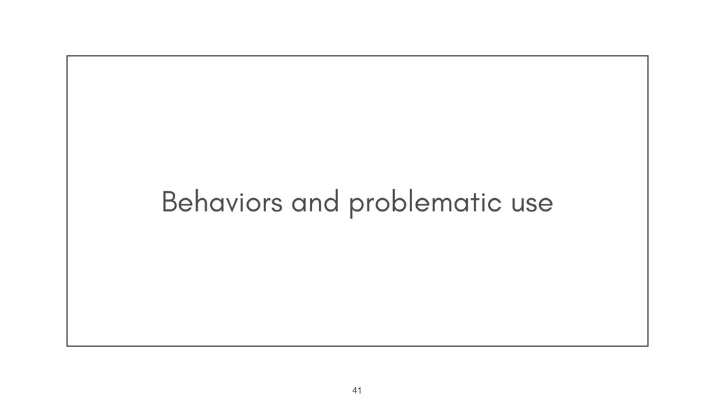 Behaviors and problematic use !41