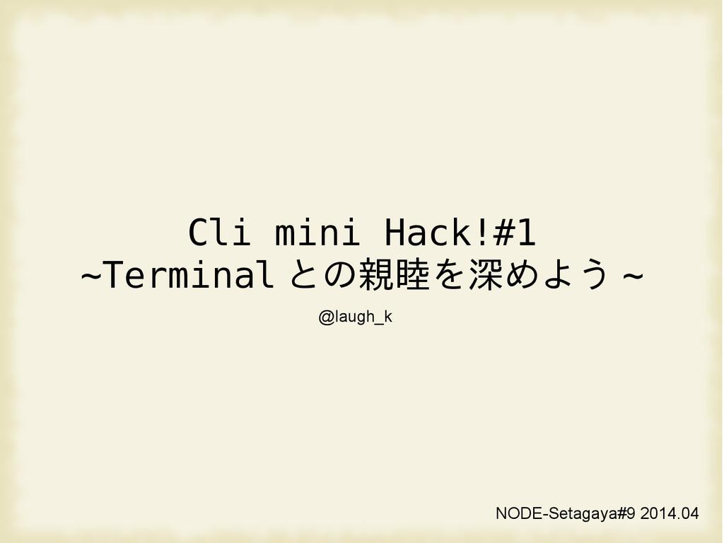 Cli mini Hack!#1 ~Terminal との親睦を深めよう ~ NODE-Set...