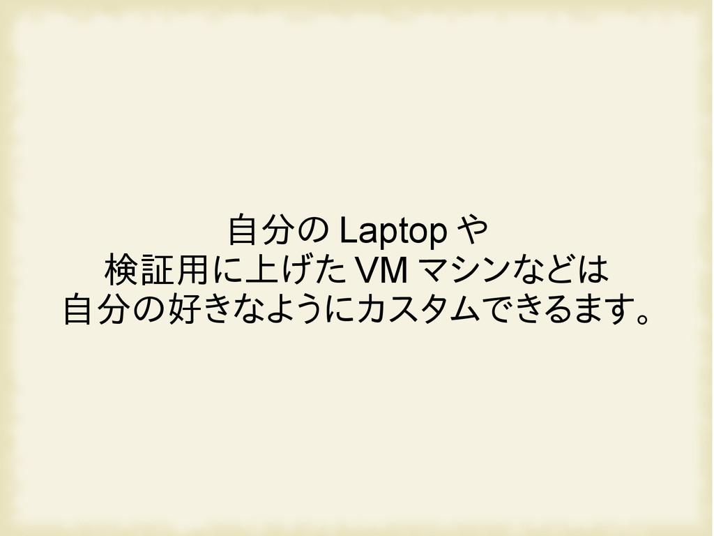 自分の Laptop や 検証用に上げた VM マシンなどは 自分の好きなようにカスタムできる...