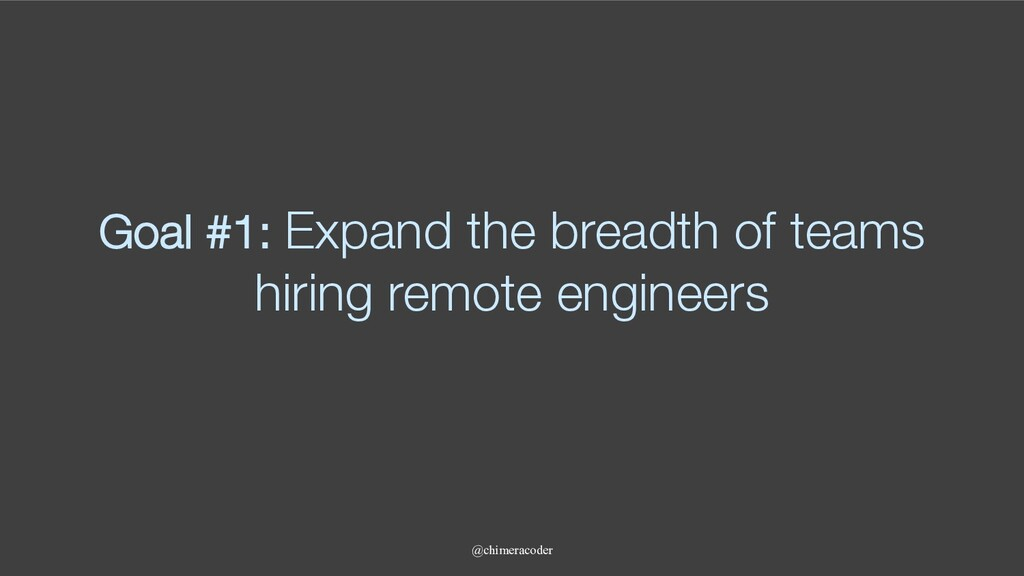 Goal #1: Expand the breadth of teams hiring rem...