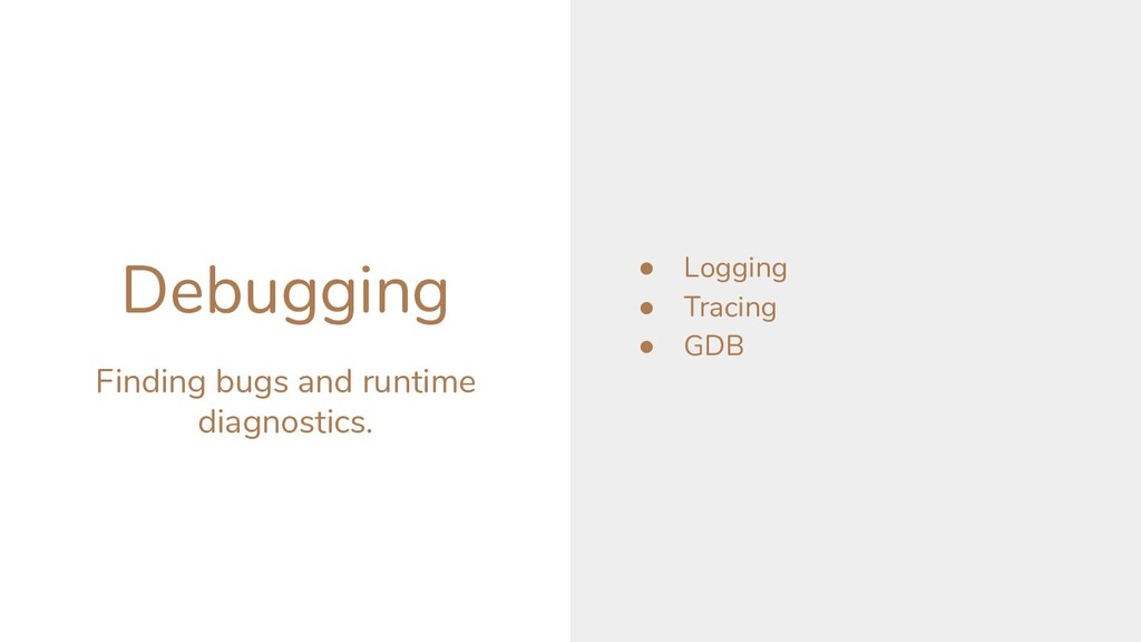 Debugging Finding bugs and runtime diagnostics....