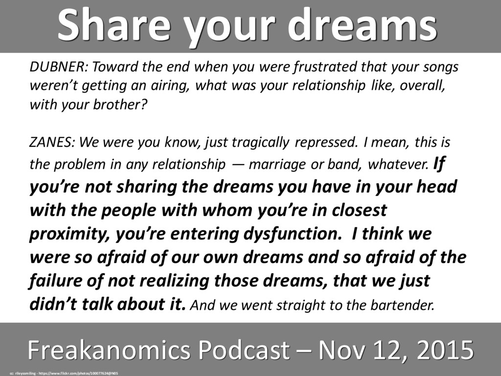 Share your dreams Freakanomics Podcast – Nov 12...