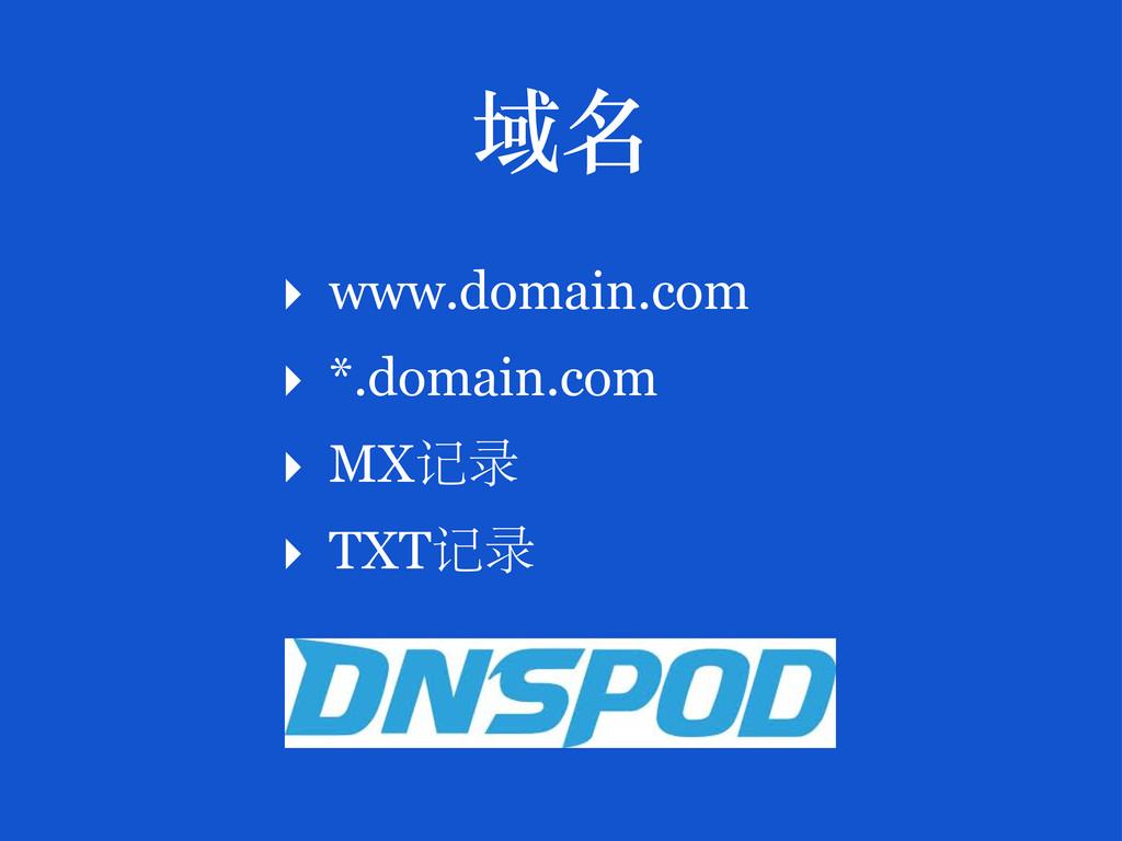 ‣ www.domain.com ‣ *.domain.com ‣ MX 记录 ‣ TXT 记...
