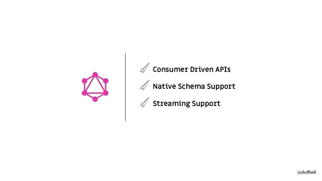 @duffleit ✅ Consumer Driven APIs ✅ Native Schema ...