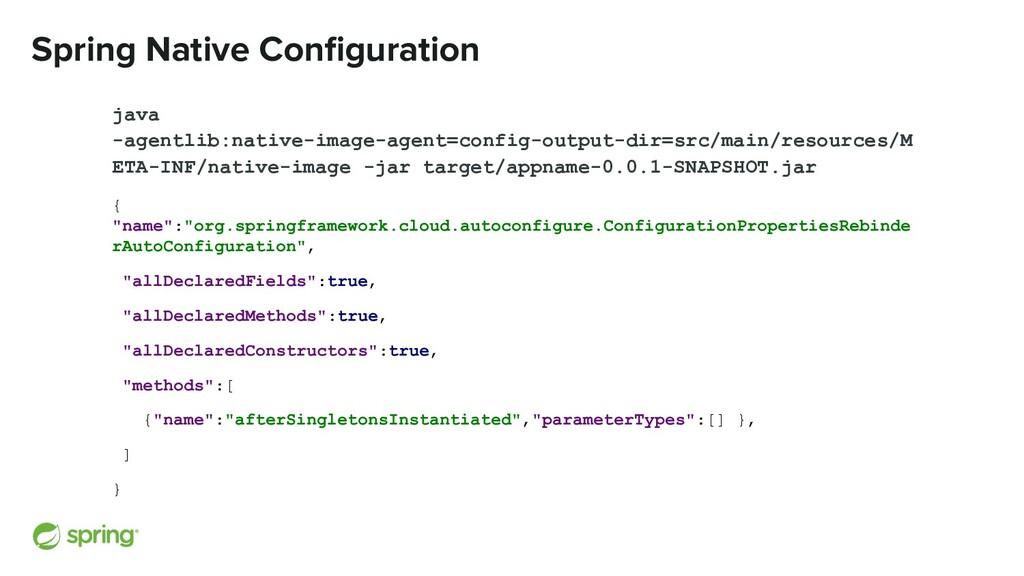 Spring Native Configuration java -agentlib:nativ...