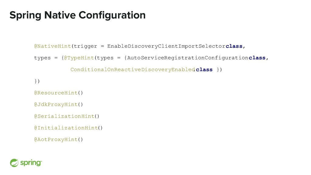 Spring Native Configuration @NativeHint(trigger ...