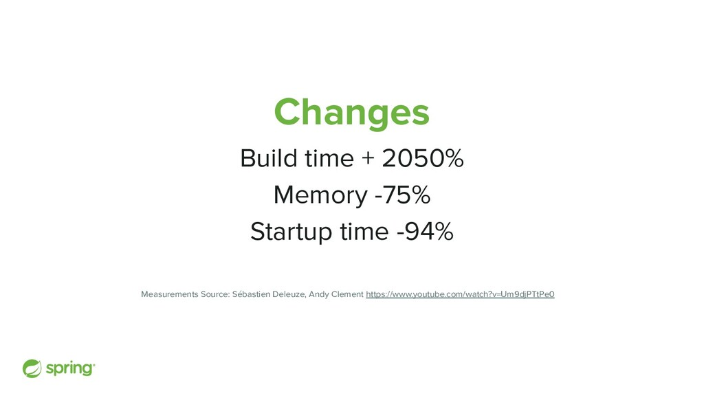 Changes Build time + 2050% Memory -75% Startup ...
