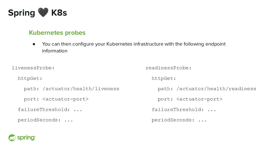 Spring 🖤 K8s Kubernetes probes ● You can then c...