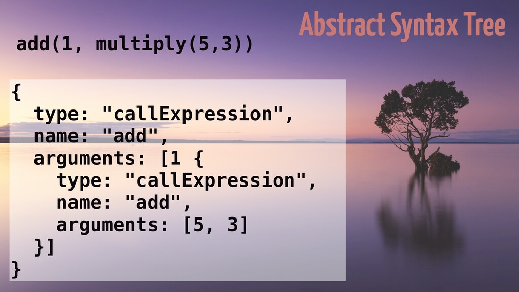 Abstract Syntax Tree add(1, multiply(5,3)) { ty...