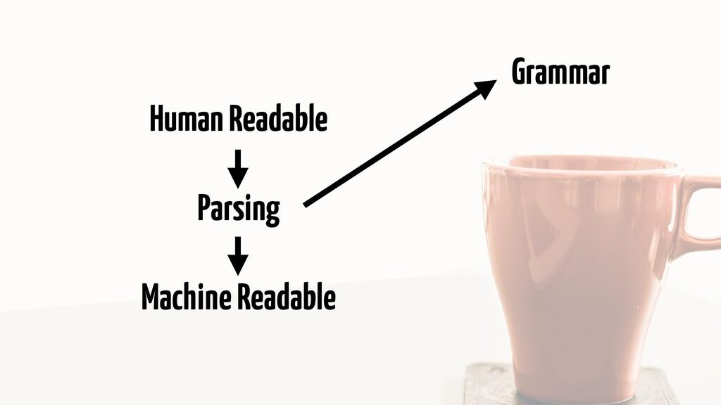 Human Readable Parsing Machine Readable Grammar