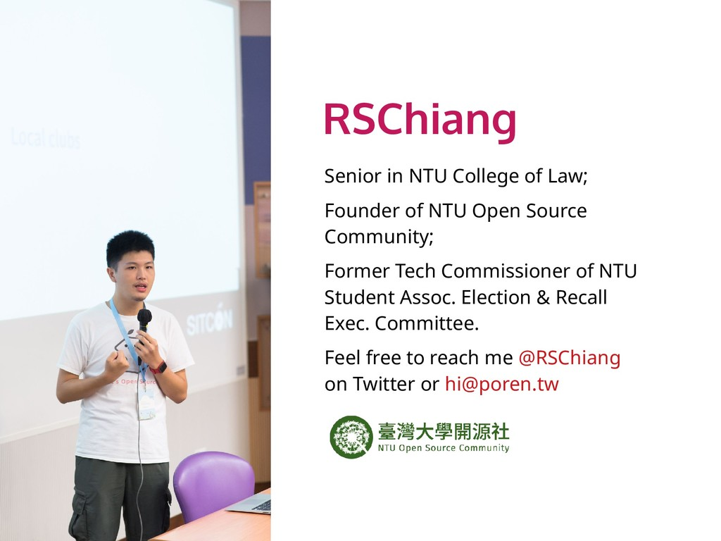 RSChiang Senior in NTU College of Law; Founder ...