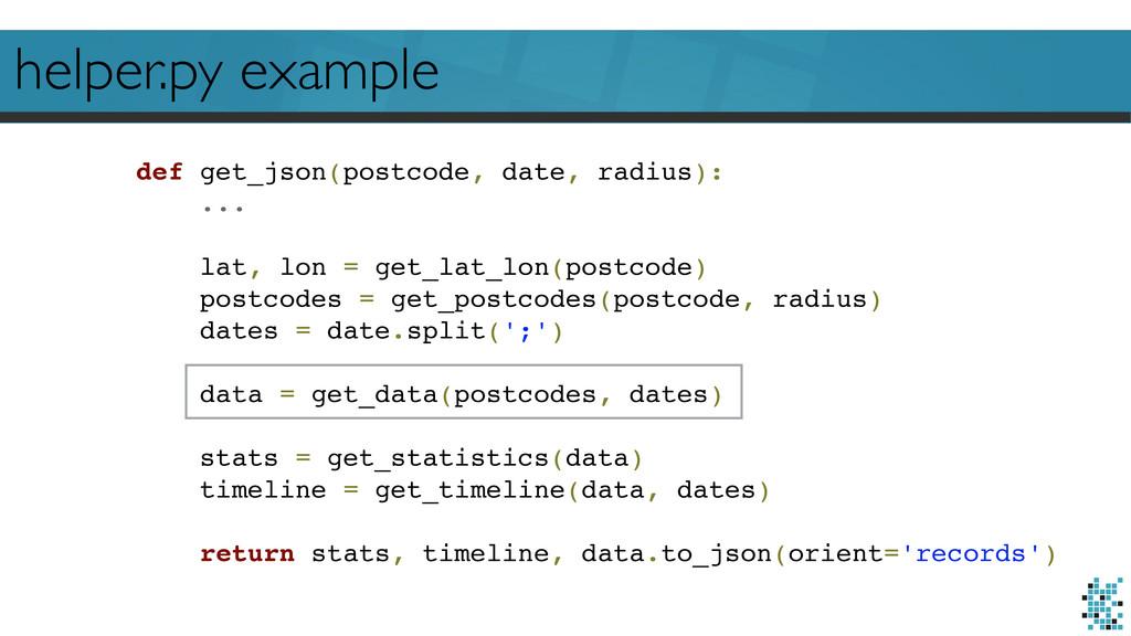 helper.py example def get_json(postcode, date, ...