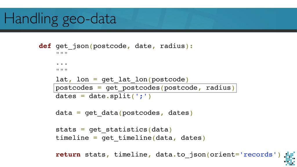 Handling geo-data def get_json(postcode, date, ...