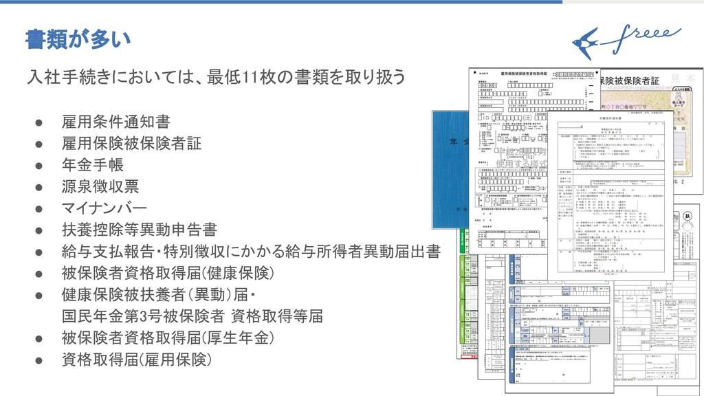 19 書類が多い 入社手続きにおいては、最低11枚の書類を取り扱う  ● 雇用条件通知書...