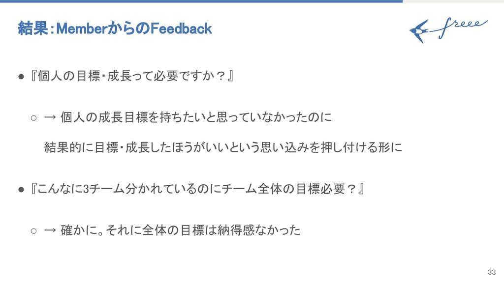 33 結果:MemberからのFeedback ● 『個人の目標・成長って必要ですか?』 ...