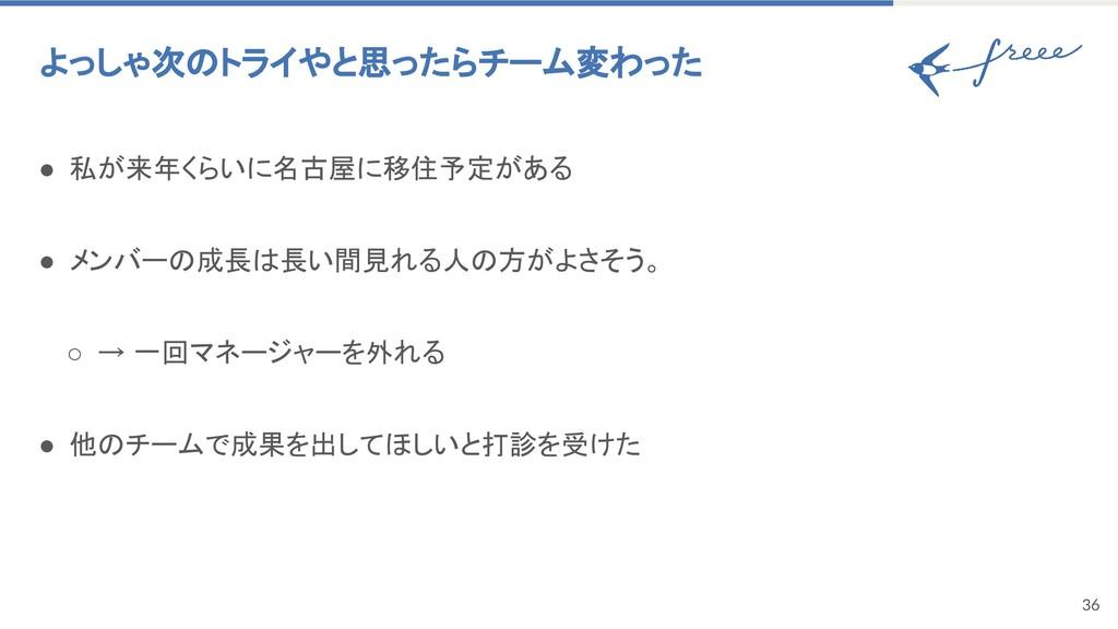 36 よっしゃ次のトライやと思ったらチーム変わった ● 私が来年くらいに名古屋に移住予定があ...