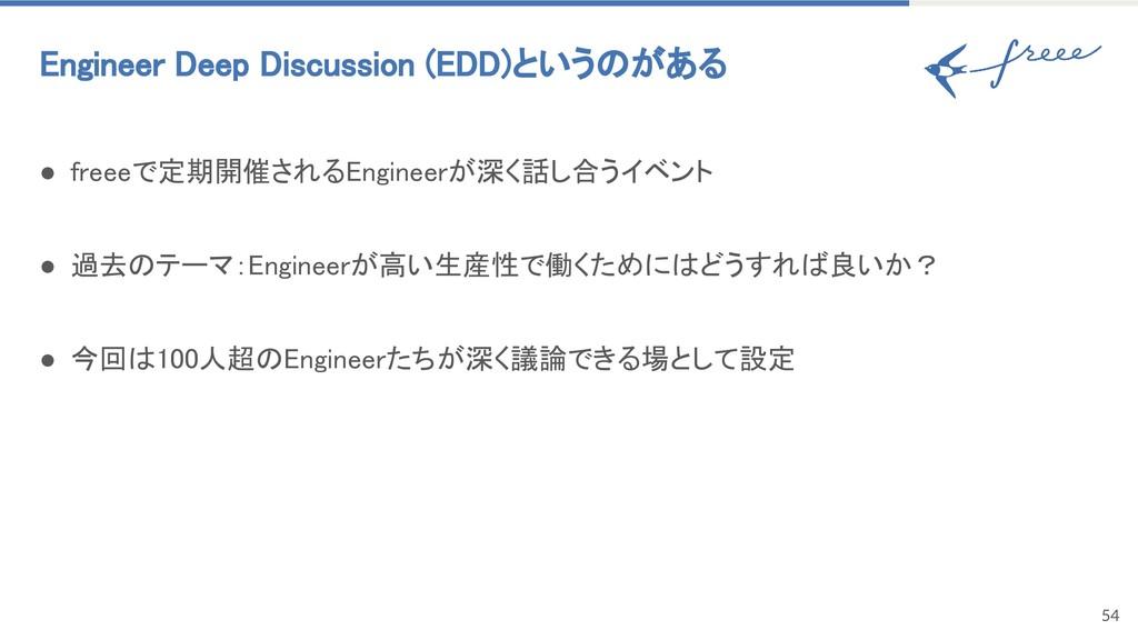 54 Engineer Deep Discussion (EDD)というのがある ● fre...