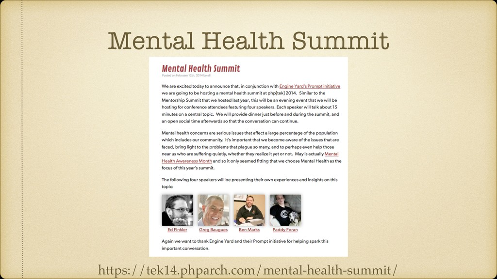Mental Health Summit https://tek14.phparch.com/...