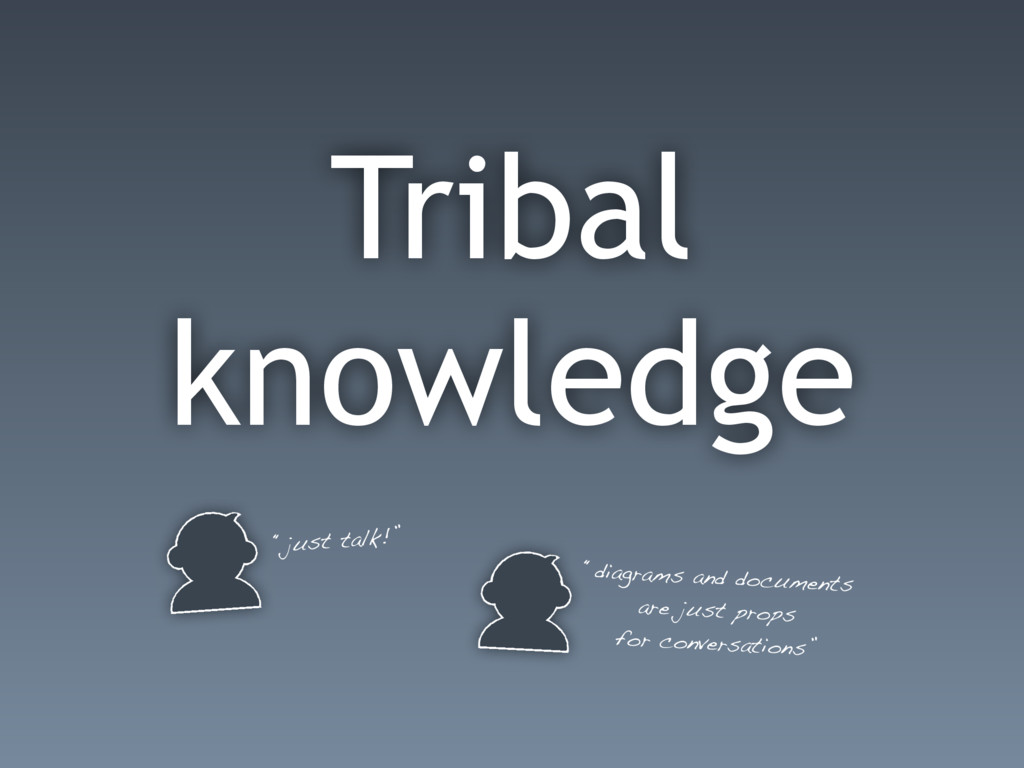 """Tribal knowledge """"just talk!"""" """"diagrams and doc..."""