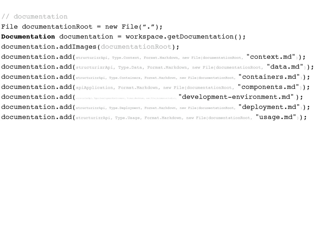 // documentation File documentationRoot = new F...
