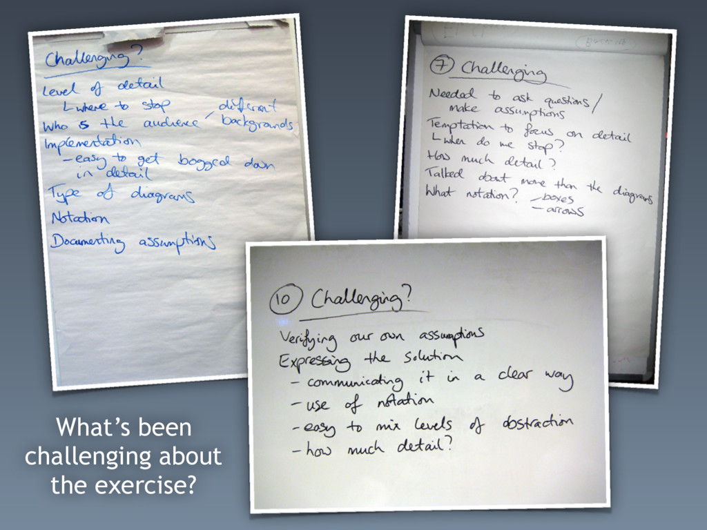 What's been challenging about the exercise?