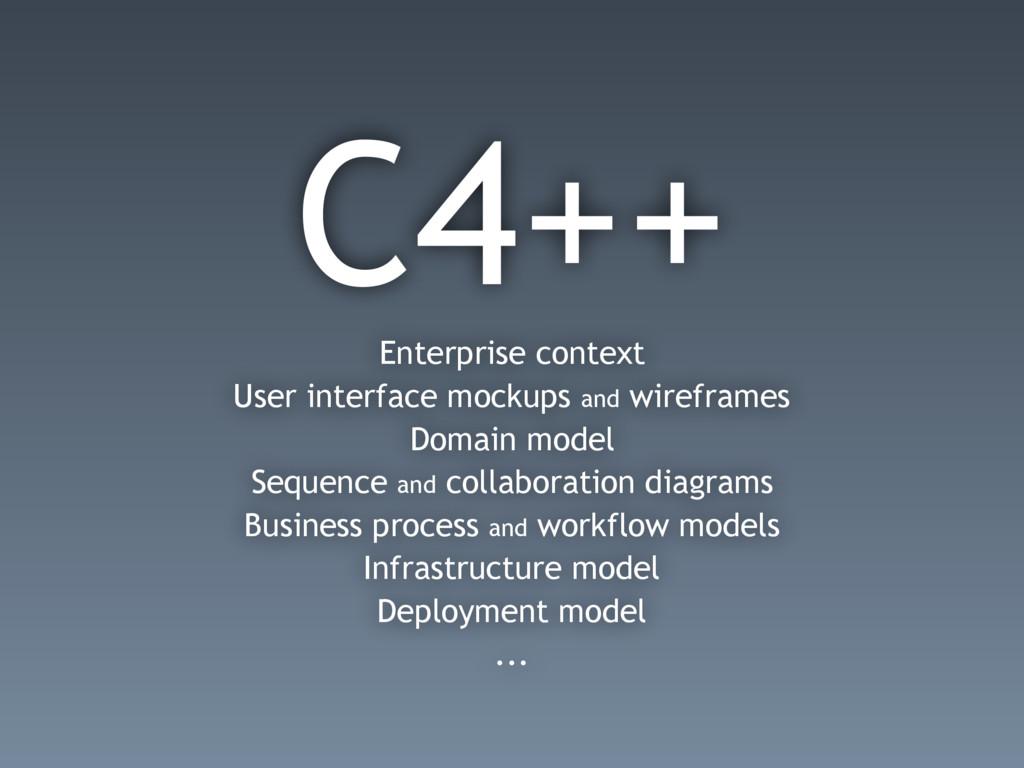 C4++ Enterprise context User interface mockups ...