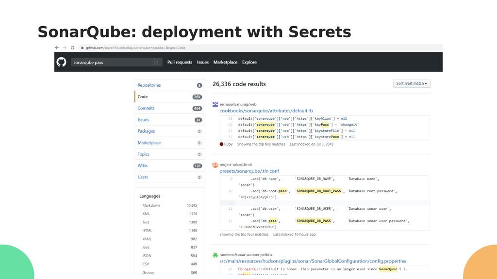 SonarQube: deployment with Secrets