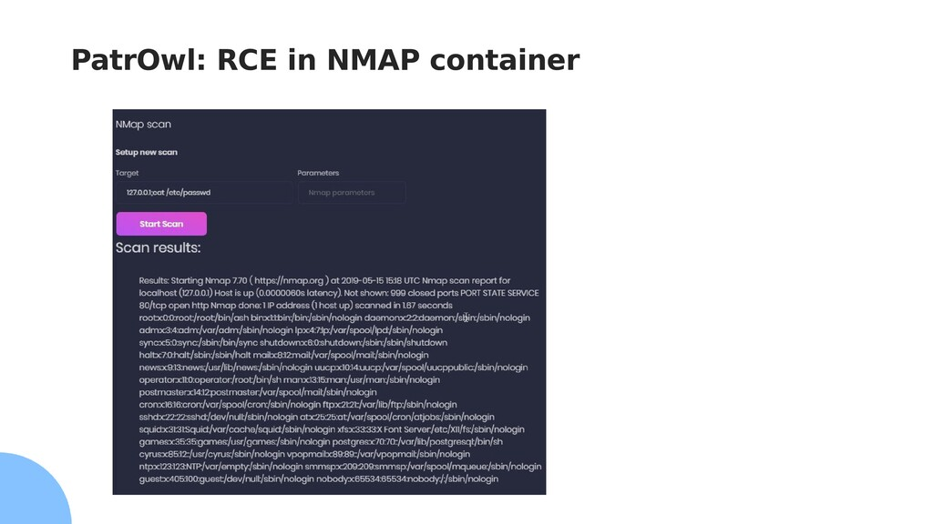 PatrOwl: RCE in NMAP container