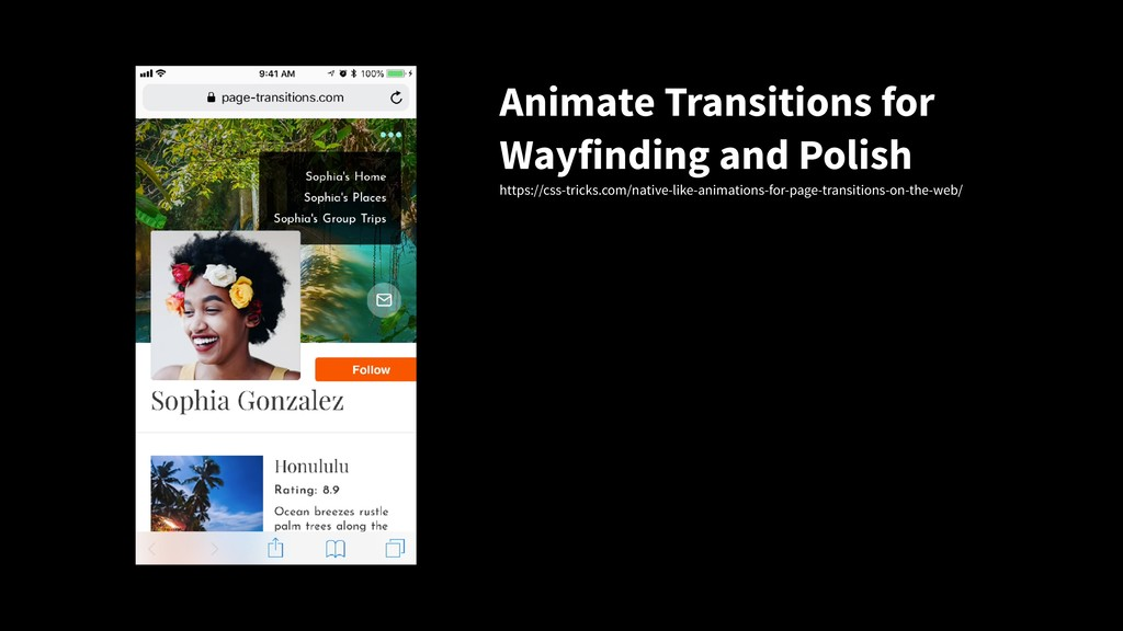 Animate Transitions for Wayfinding and Polish h...