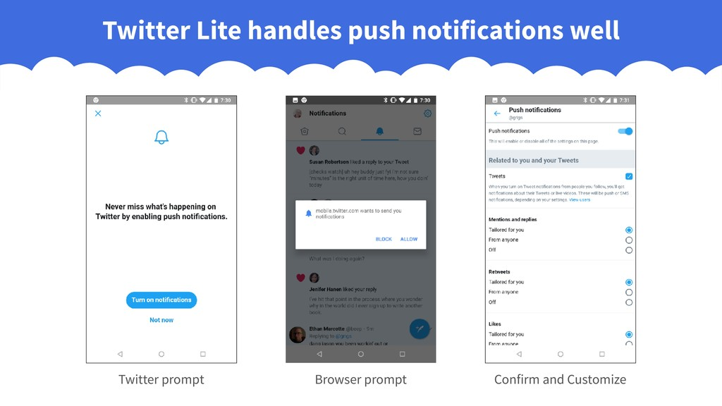 Twitter Lite handles push notifications well Br...