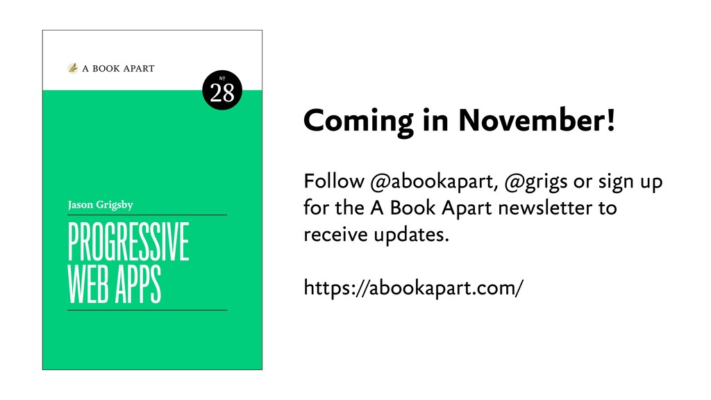 Coming in November! Follow @abookapart, @grigs ...