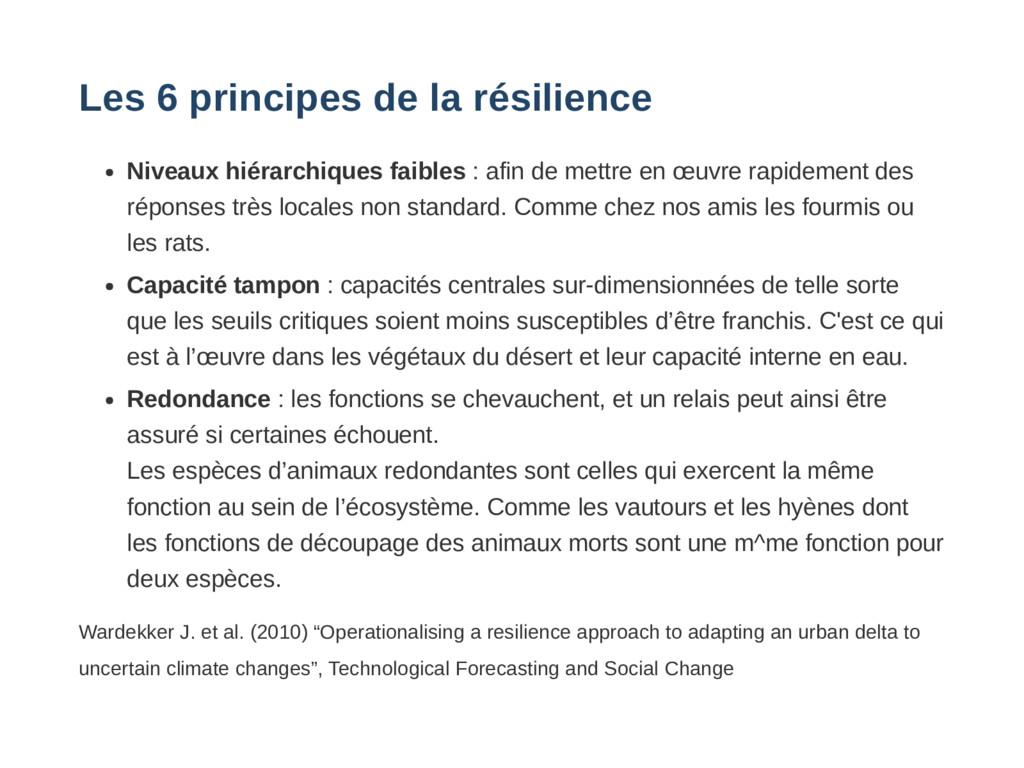 Les 6 principes de la résilience Niveaux hiérar...