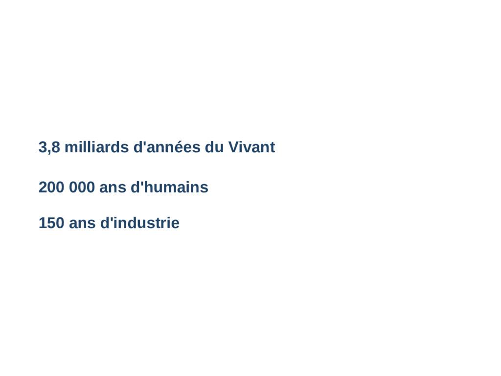3,8 milliards d'années du Vivant 200 000 ans d'...