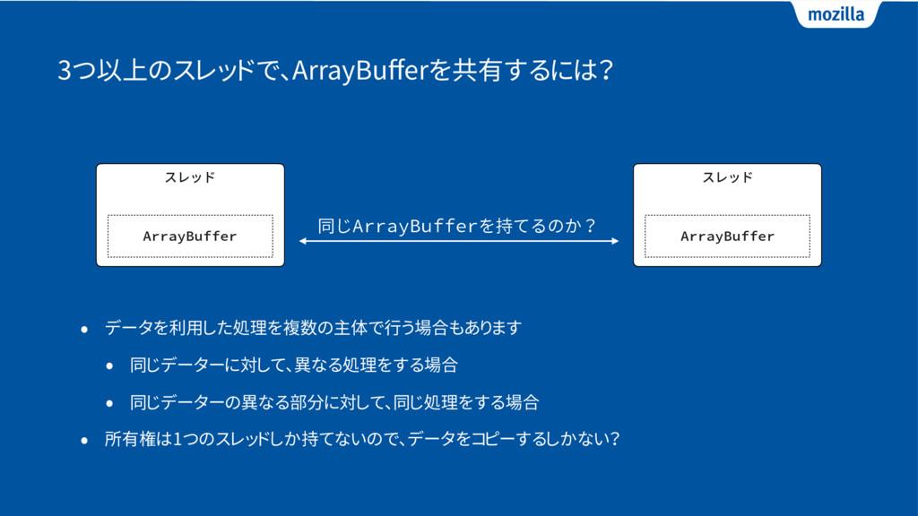 3つ以上のスレッドで、ArrayBufferを共有するには? • データを利用した処理を複数の主...