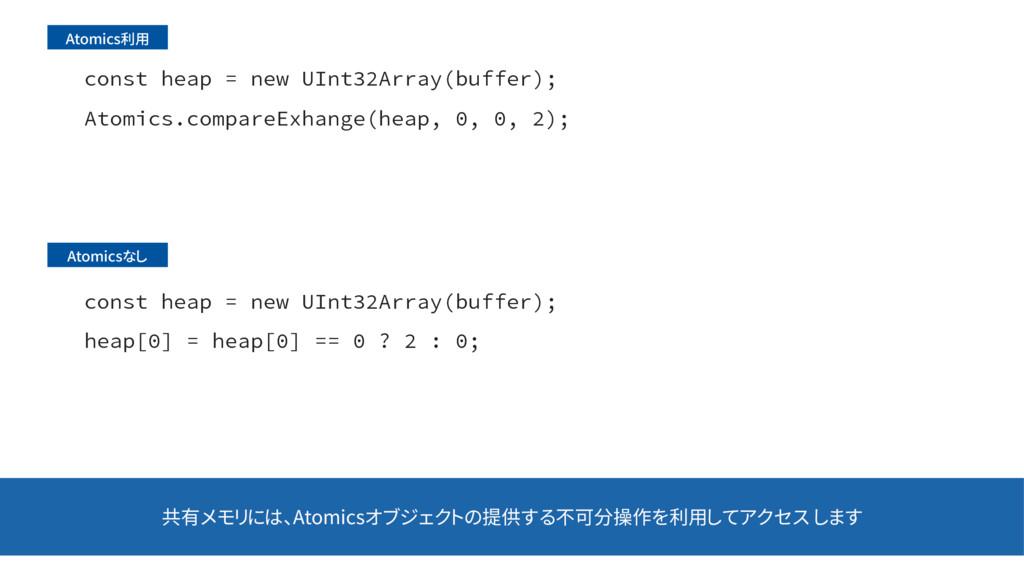 共有メモリには、Atomicsオブジェクトの提供する不可分操作を利用してアクセス します DP...