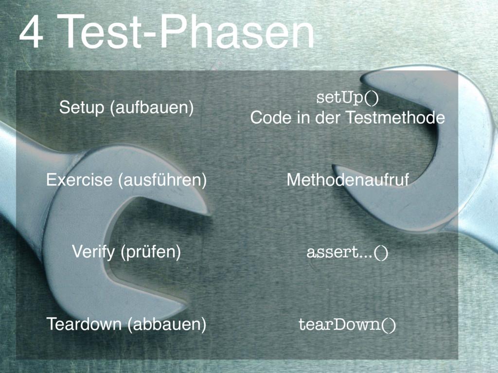 4 Test-Phasen Setup (aufbauen) setUp() Code in...