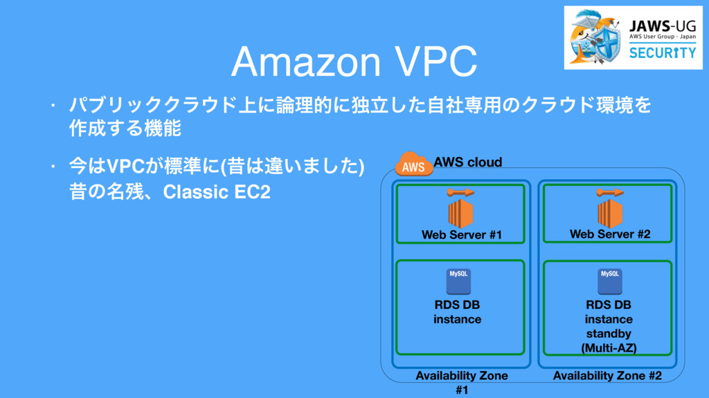 Amazon VPC • ύϒϦοΫΫϥυ্ʹཧతʹಠཱͨࣗࣾ͠ઐ༻ͷΫϥυڥΛ ࡞...