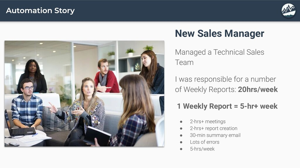 New Sales Manager 20hrs/week 1 Weekly Report = ...