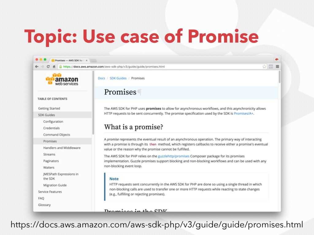 Topic: Use case of Promise https://docs.aws.ama...