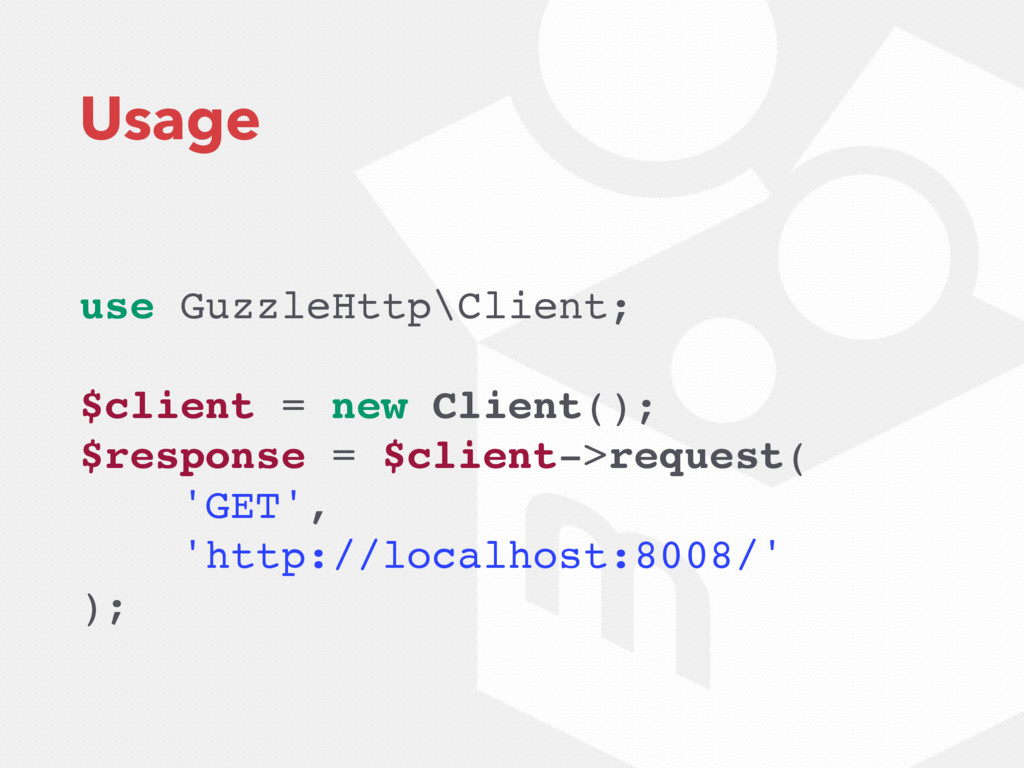 Usage use GuzzleHttp\Client; $client = new Clie...