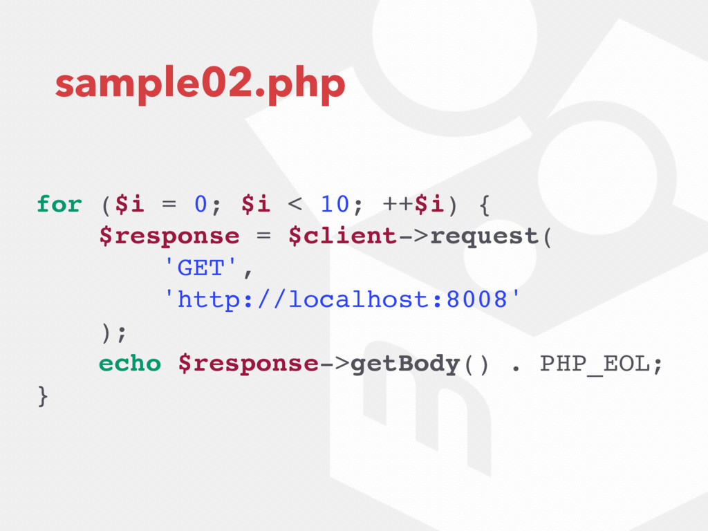 sample02.php for ($i = 0; $i < 10; ++$i) { $res...