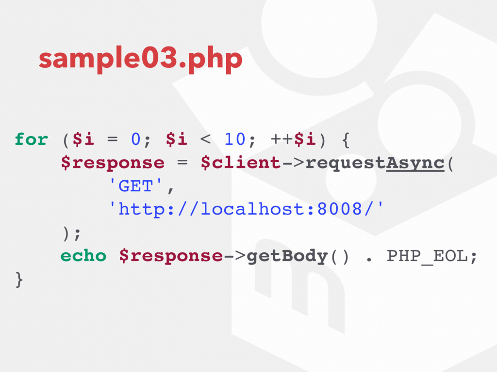 sample03.php for ($i = 0; $i < 10; ++$i) { $res...