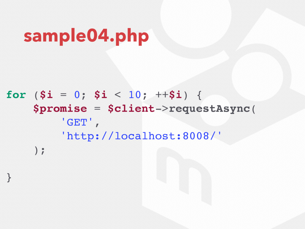 sample04.php for ($i = 0; $i < 10; ++$i) { $pro...