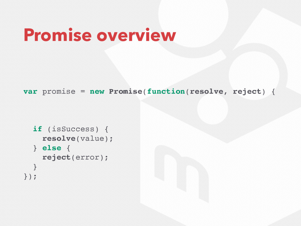 Promise overview var promise = new Promise(func...